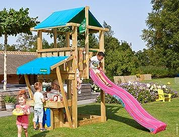 Jungle Gym Hut Mini Market Fucsia Parques Infantiles de Madera para Jardin con Tobogan: Amazon.es: Juguetes y juegos