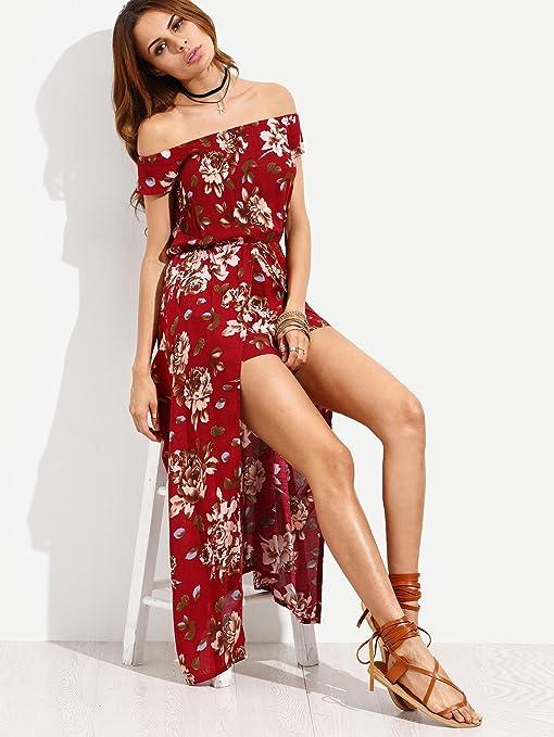 f00c6976ab2 Milumia Women s Off Shoulder Floral Bardot Longline Bohemian Split Maxi  Romper Dress  Amazon.co.uk  Clothing