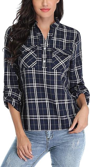 Akalnny Camisas de Manga Larga para Mujer Camisa Casual de algodón a Cuadros Sueltos Cuello en V Blusa clásica Blusa de Bolsillo: Amazon.es: Ropa y accesorios