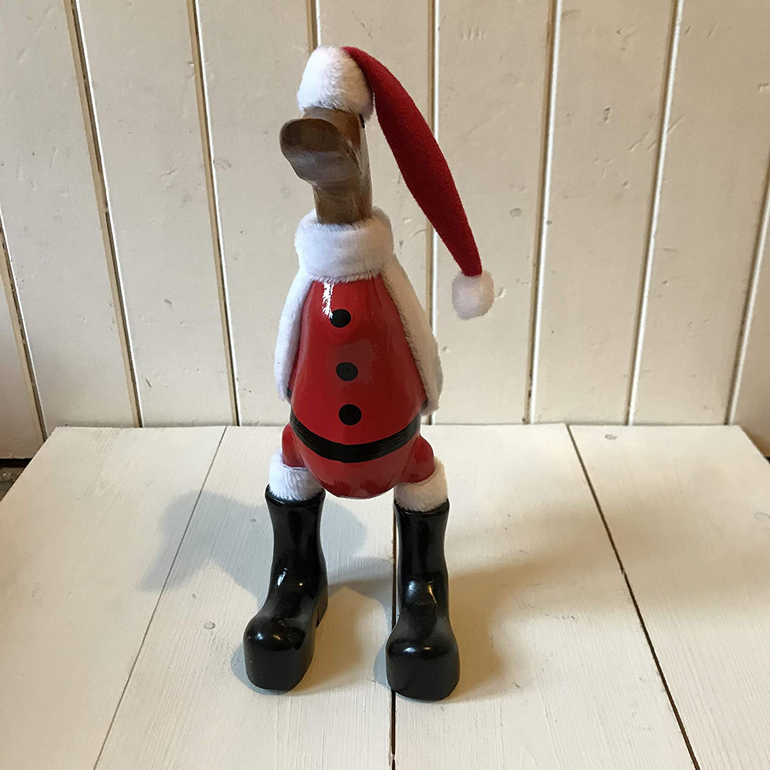 Wooden Duck Christmas Duck Small Handcrafted Decorated Santa
