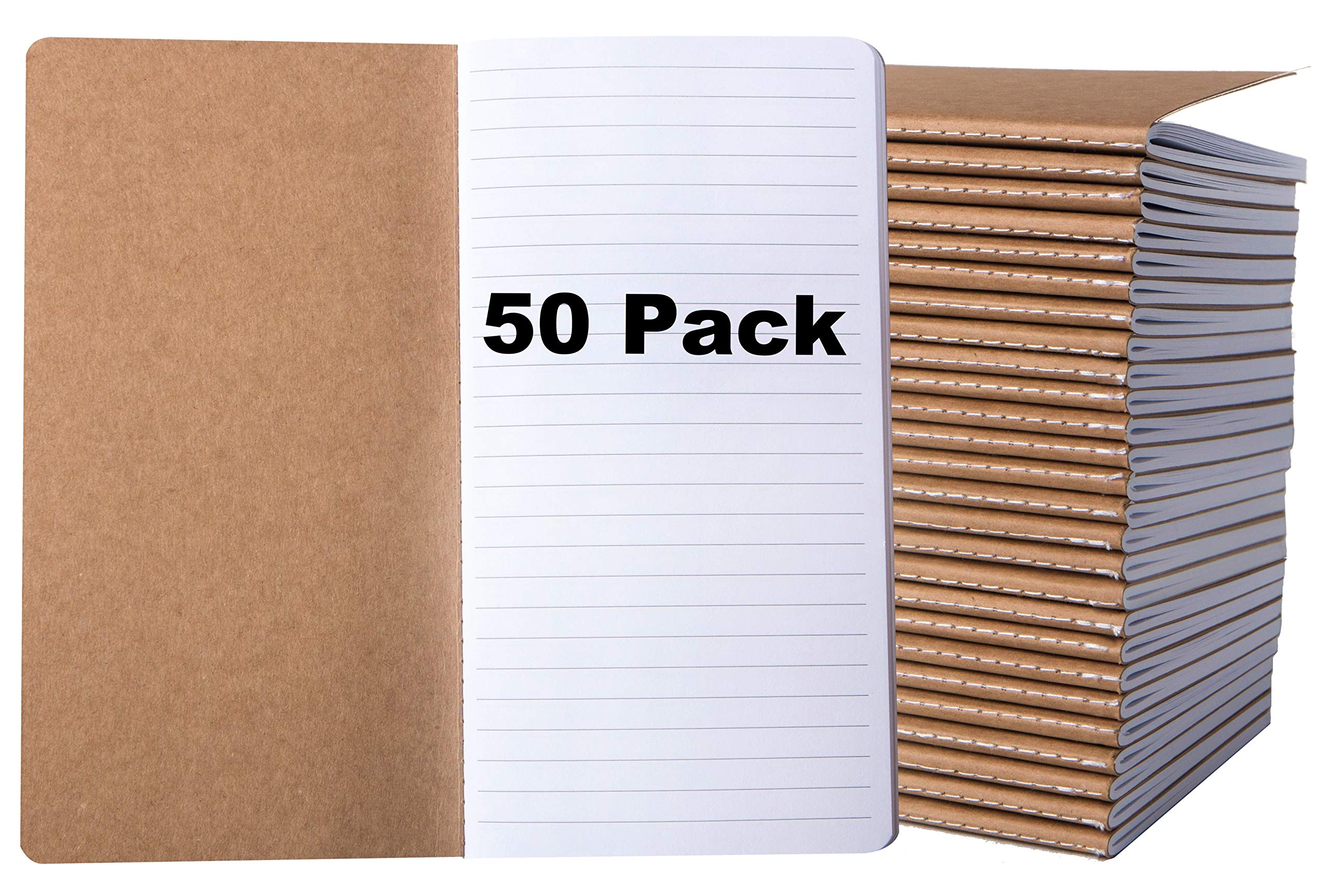 50 Pack Journal Notebook - Pocket Journals Bulk - Bulk Kraft Notebooks - Lined Notebook - Small Writing Notebooks, H5 Notebook - 80 Pages - 4.4 x 8.26 Inches - Brown by Bargain Paradise