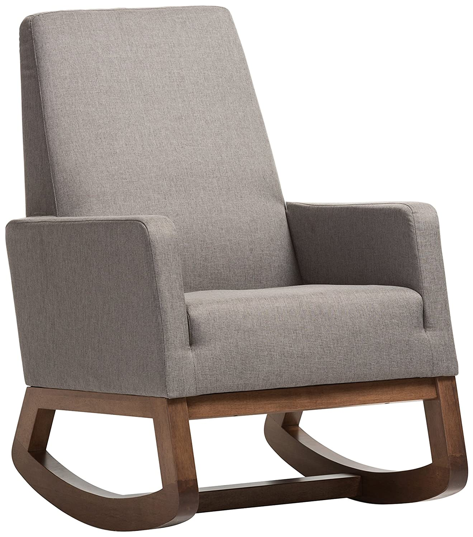 Baxton Studio BBT5199-Grey Yashiya Mid Century Retro Modern Fabric Upholstered Rocking Chair, Grey