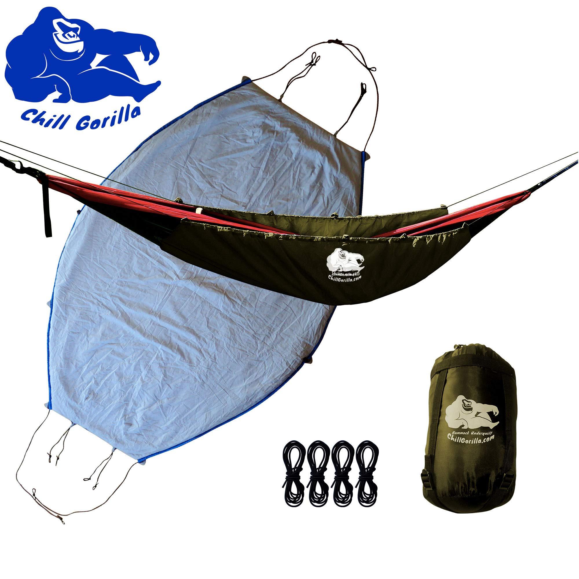 Chill Gorilla Hammock Underquilt. Lightweight Camping Quilt. Hammock Camping Accessories. OD Green by Chill Gorilla