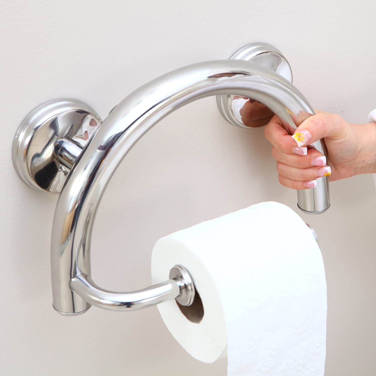 Grabcessories 61022 2-in-1 Grab Bar Toilet Paper Holder with Grips ...