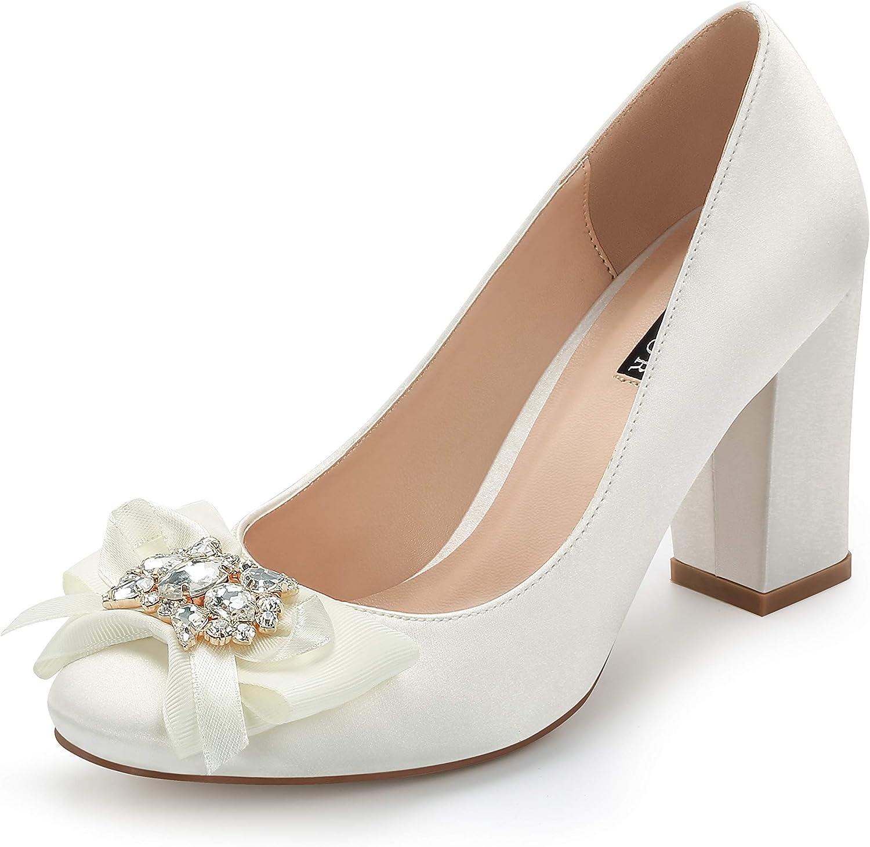 ERIJUNOR Block Heel Wedding Shoes