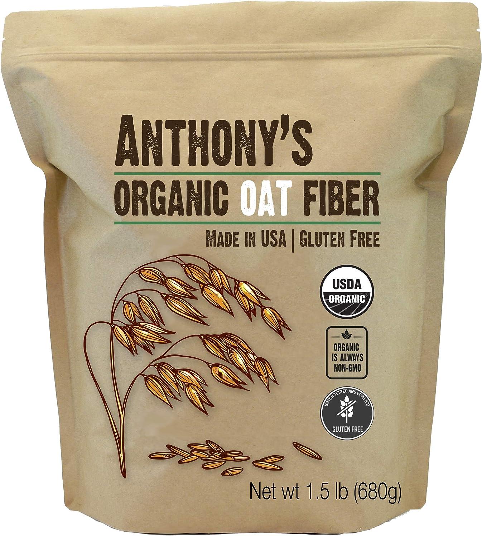Anthonys Fibra de avena orgánica, 1.5 lb, sin gluten, no ...