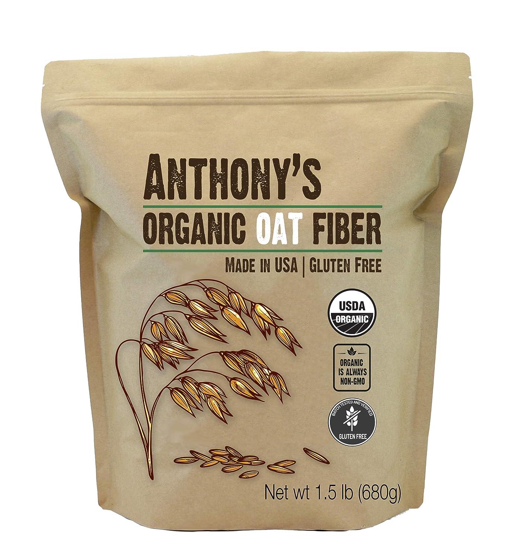 Anthony's Organic Oat Fiber, 1.5 lb, Gluten Free, Non GMO, Keto Friendly, Product of USA
