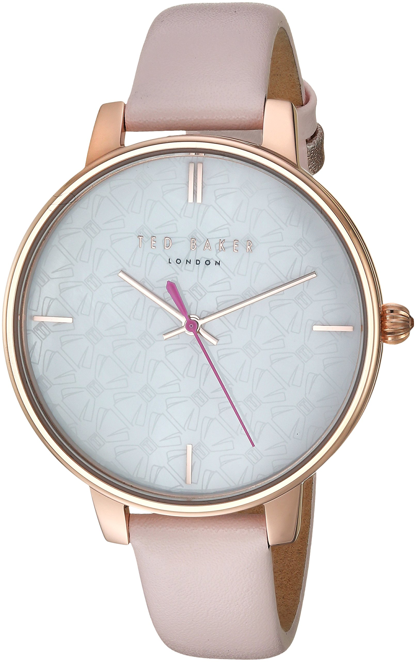 Ted Baker Women's 'KATE' Quartz Stainless Steel and Leather Casual Watch, Color:Pink (Model: TE50272006)
