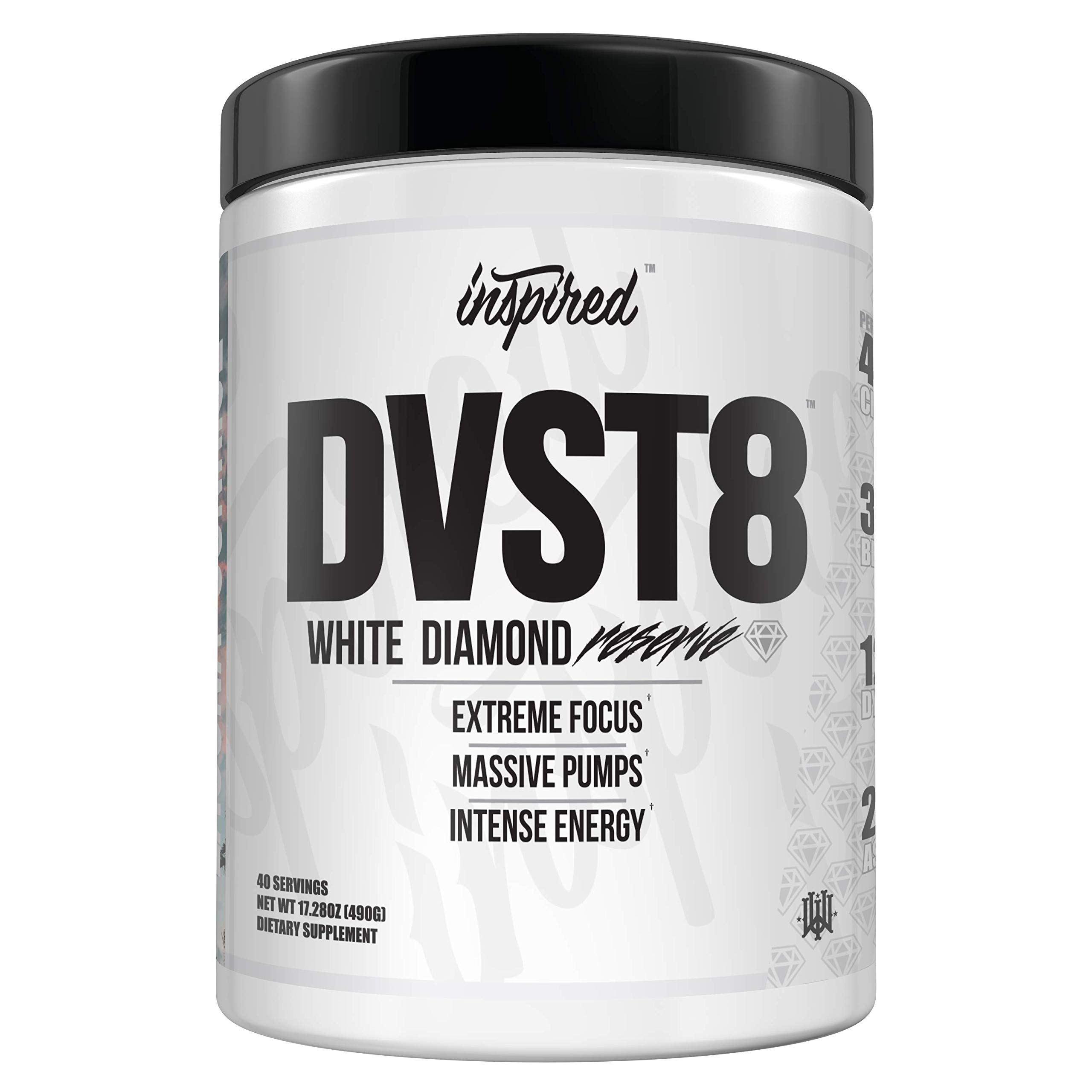 Inspired Nutraceuticals DVST8 White Diamond Reserve | Extreme Focus, Pump, and Energy Pre-Workout Powder Citrulline, Betaine, Dynamine, Astragin, Electrolytes | California Gold | 40 Servings
