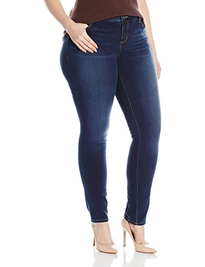 c22bcef6fe02f3 SLINK Jeans Women's Plus Size Amber Skinny at Amazon Women's Clothing store: