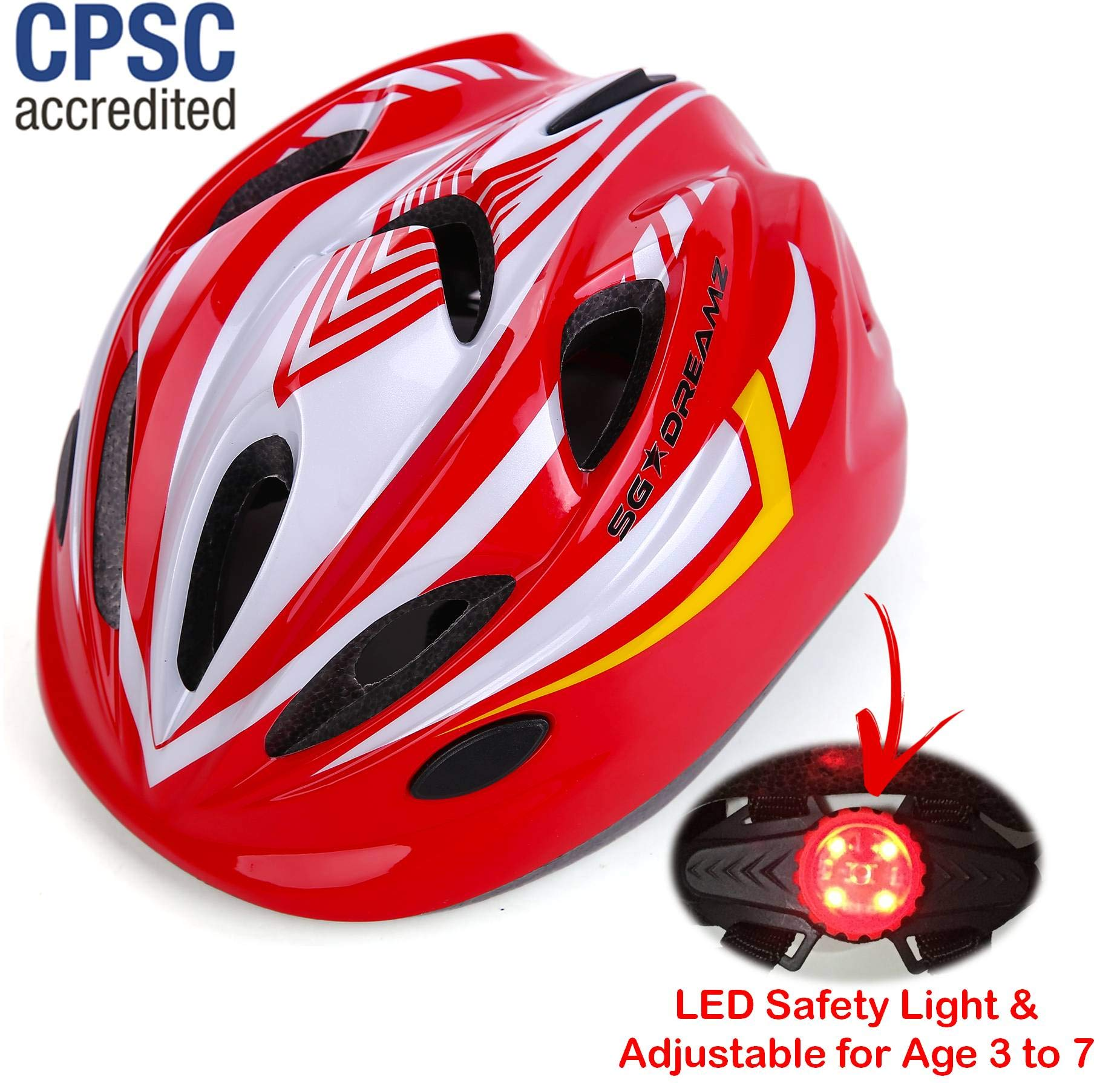 Kids Bike Helmet – Adjustable from Toddler to Youth Size, Ages 3 To 7 - Durable Kid Bicycle Helmets with Fun Racing Design Boys and Girls will LOVE - CSPC Certified for Safety (White Red With Light)