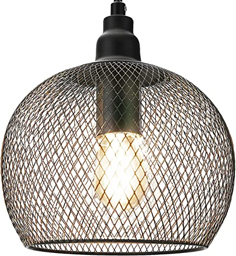 UL Certified Industrial Metal Pendant Light Farmhouse Pendant Light 1-Light Industrial Retro Style Mesh Wire Cage for Kitchen Island Dining Room Entryway Foyer Hallway JACKYLED