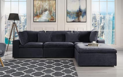 Classic Large Velvet Sectional Sofa, L Shape Couch With Wide Chaise (Black)