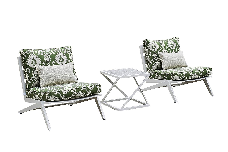 Amazon com bossima outdoor furniture aluminum frame set for matt white green tropical 3 pcs set of lounge single sofa and glass square end table garden