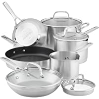 Deals on KitchenAid 3-Ply Base Brushed Stainless Steel Cookware 10pcs