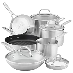 KitchenAid 3-Ply Base Brushed Stainless Steel Cookware
