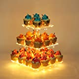 YestBuy 3 Tier Square Cupcake Stand - Premium Cupcake Holder - Acrylic Cupcake Tower Display - Cady Bar Party Décor + LED Lig