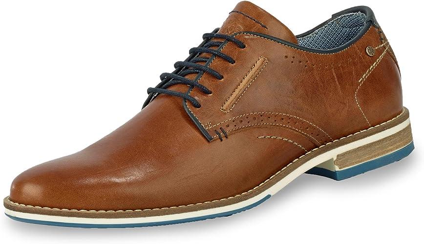 Bullboxer Herren Schnürschuhe Halbschuhe Businessschuhe Schuhe Leder Laufsohle