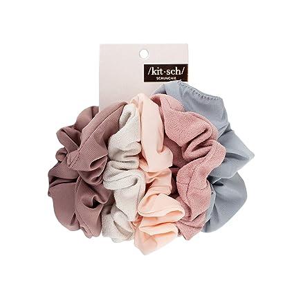 Kitsch Matte Scrunchies for Hair, Hair Scrunchies for Women, Scrunchy Hair Bands, 5 Pack (Blush/Mauve)