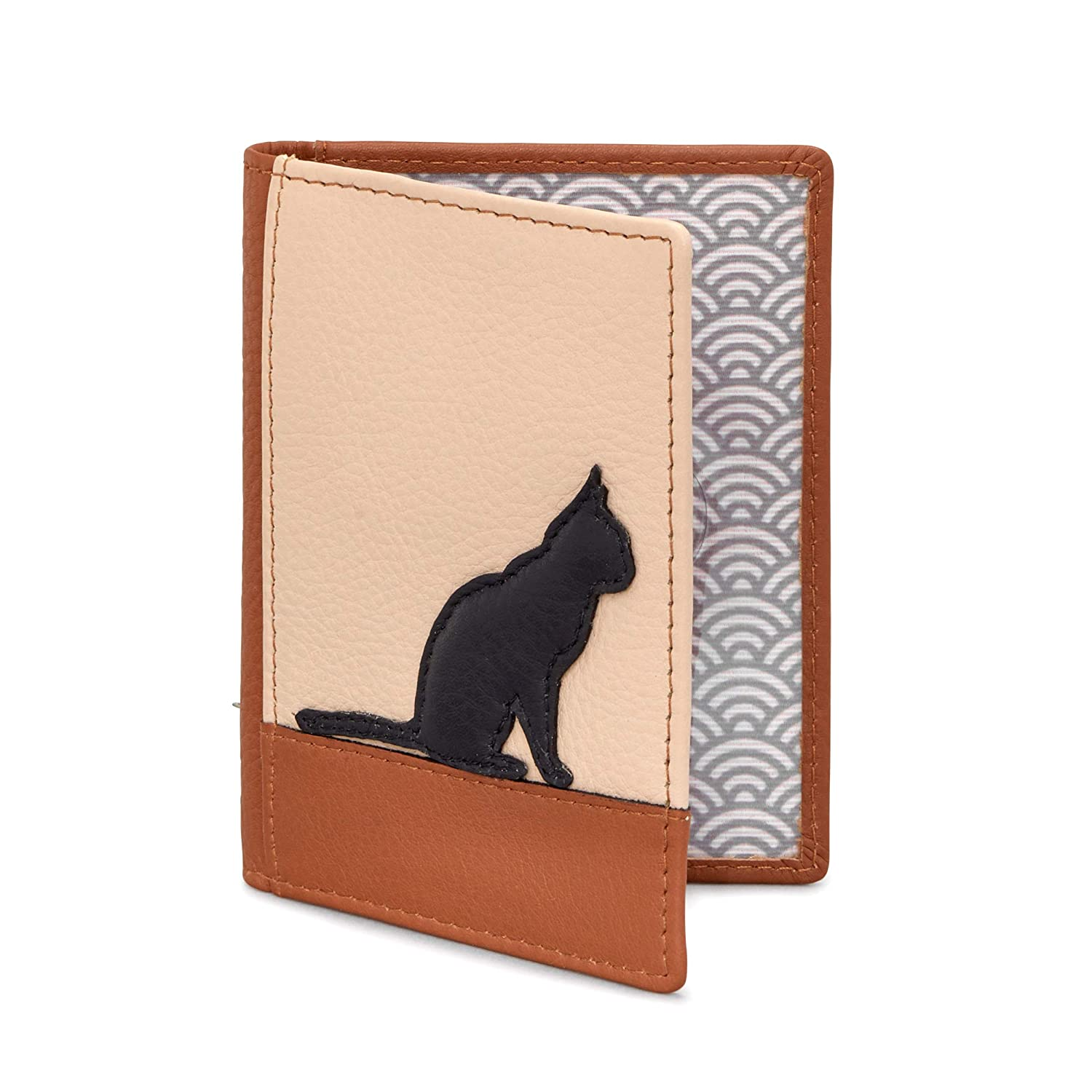 Black Cat Silhouette Leather Travel Pass Holder