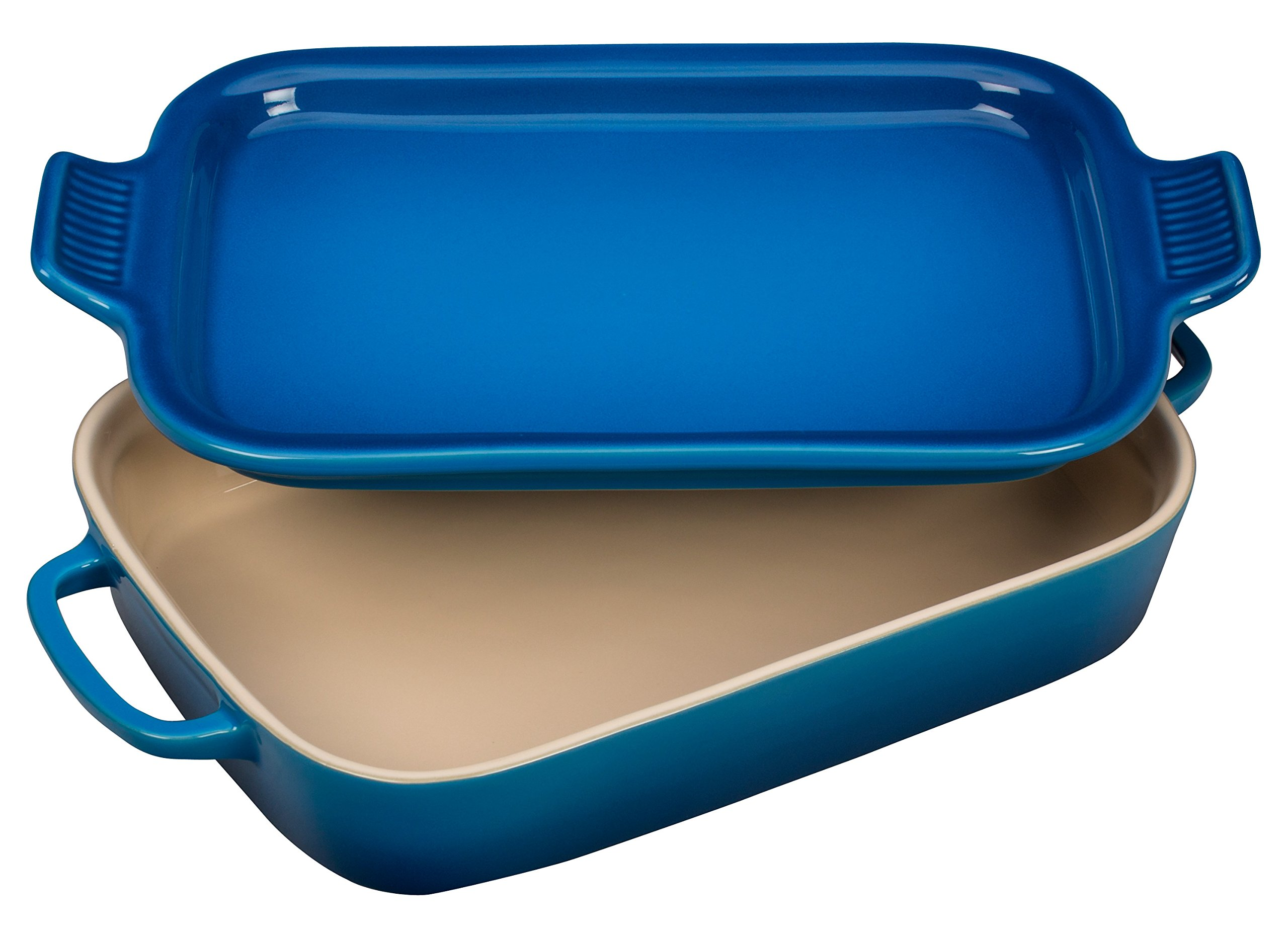 Le Creuset Stoneware Rectangular Dish with Platter Lid, 14 3/4'' x 9'' x 2 1/2'', Marseille