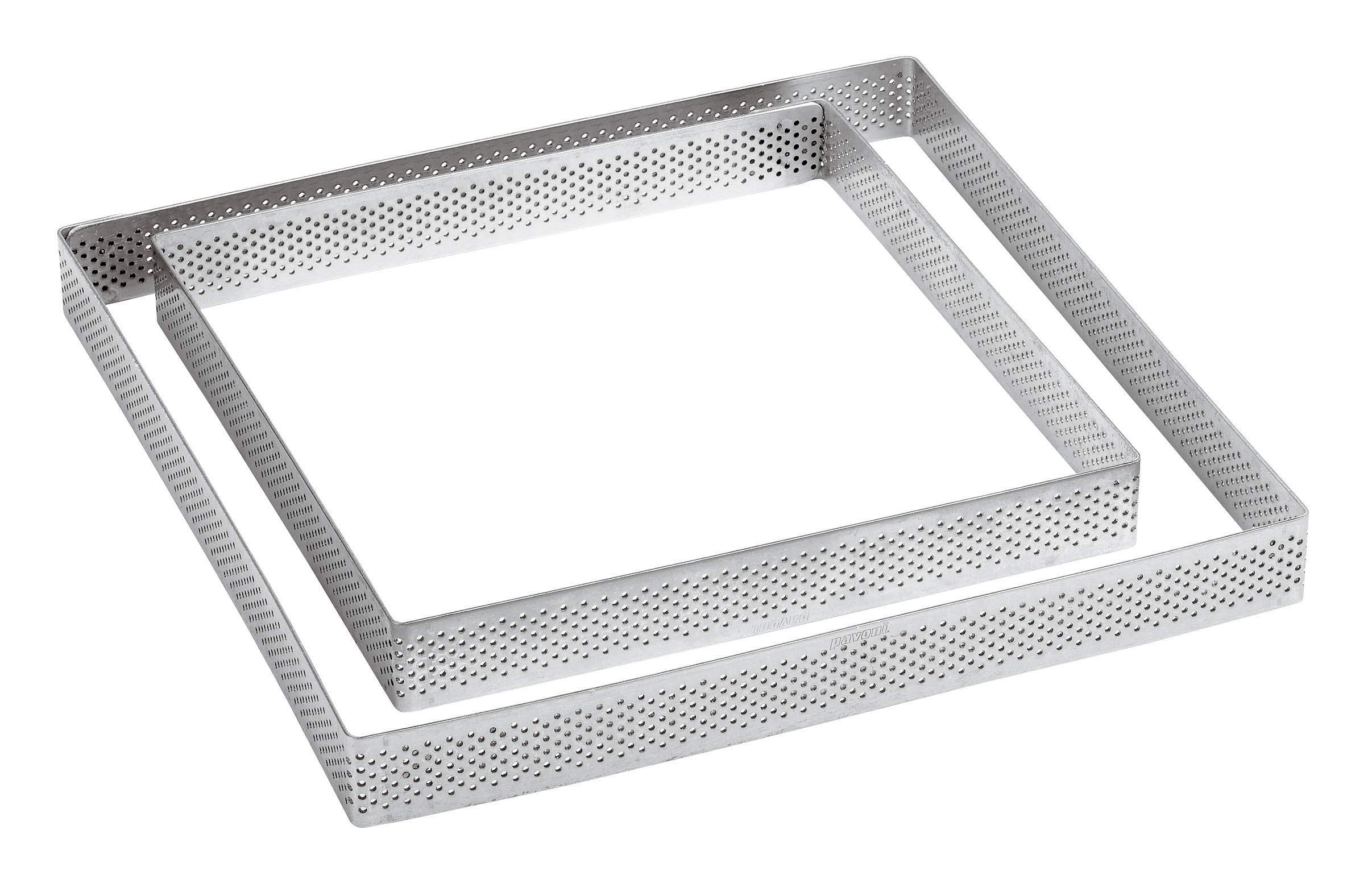 Paderno World Cuisine 47513-10 Perforated Square Tart Ring, 4 1/8'' x 4 1/8'', Gray