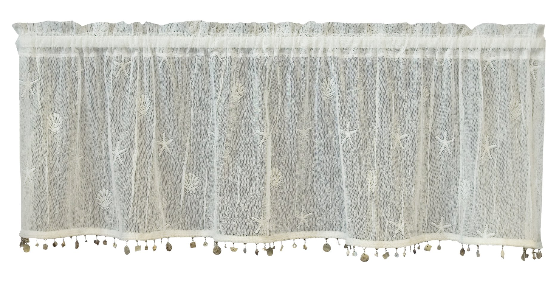 Heritage Lace Sand Shell Valance with Trim, 45 by 15-Inch, White by Heritage Lace
