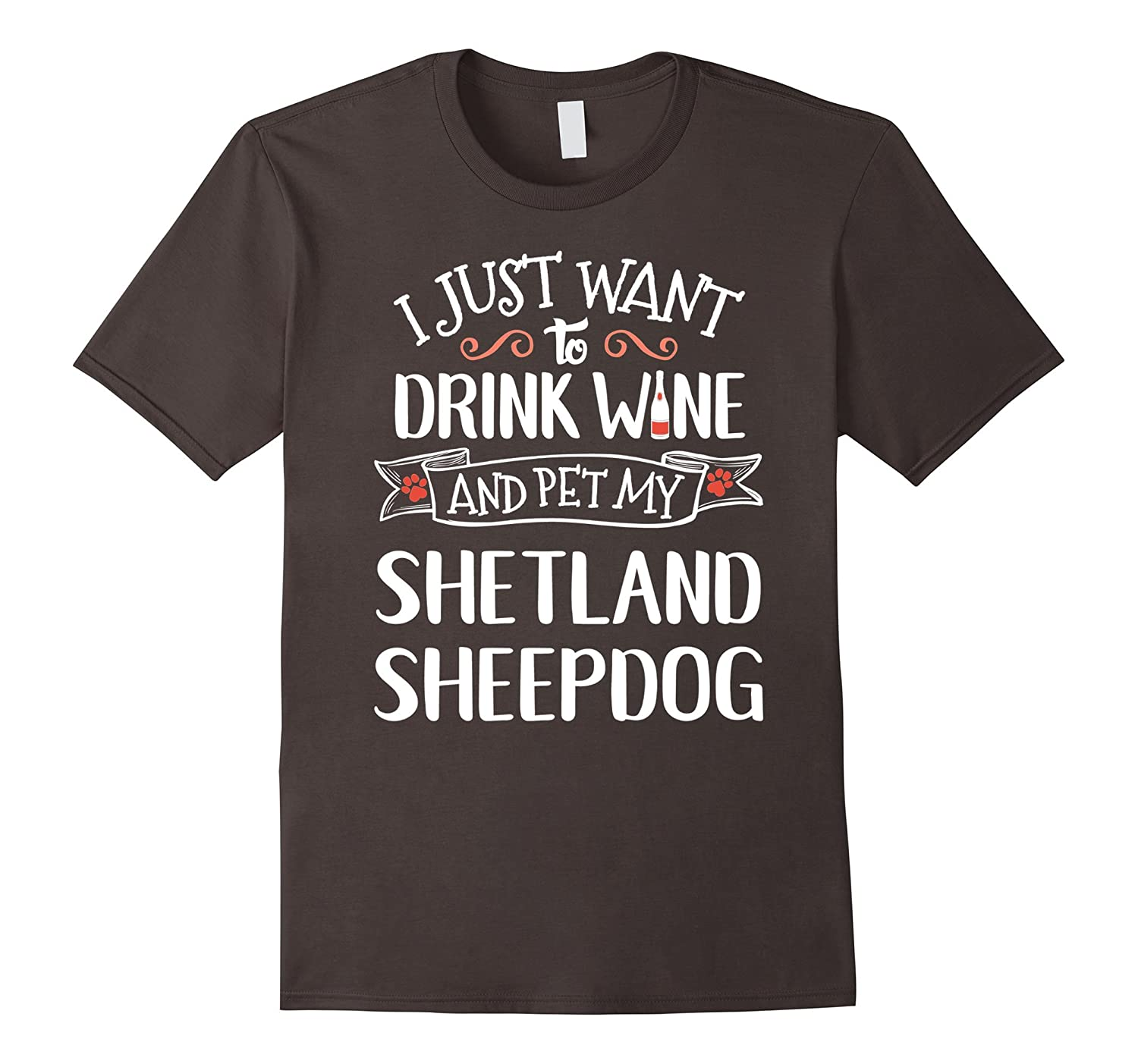 Shetland Sheepdog T-Shirt for Wine Lovers & Dog Owners