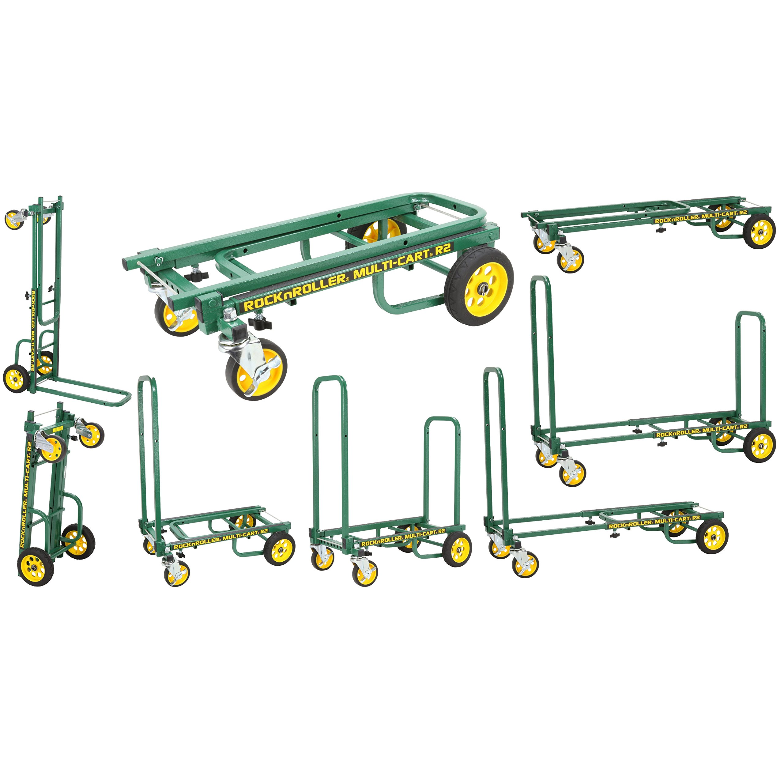 Rock-N-Roller R2RT-GR (Micro) 8-in-1 Folding Multi-Cart/Hand Truck/Dolly/Platform Cart/26'' to 39'' Telescoping Frame/350 lbs. Load Capacity, Green
