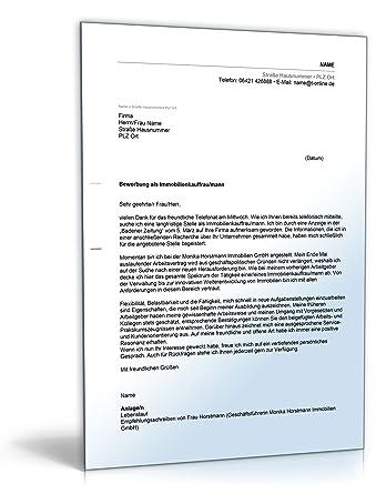 anschreiben bewerbung immobilienkaufmann word dokument - Vw Bewerbung