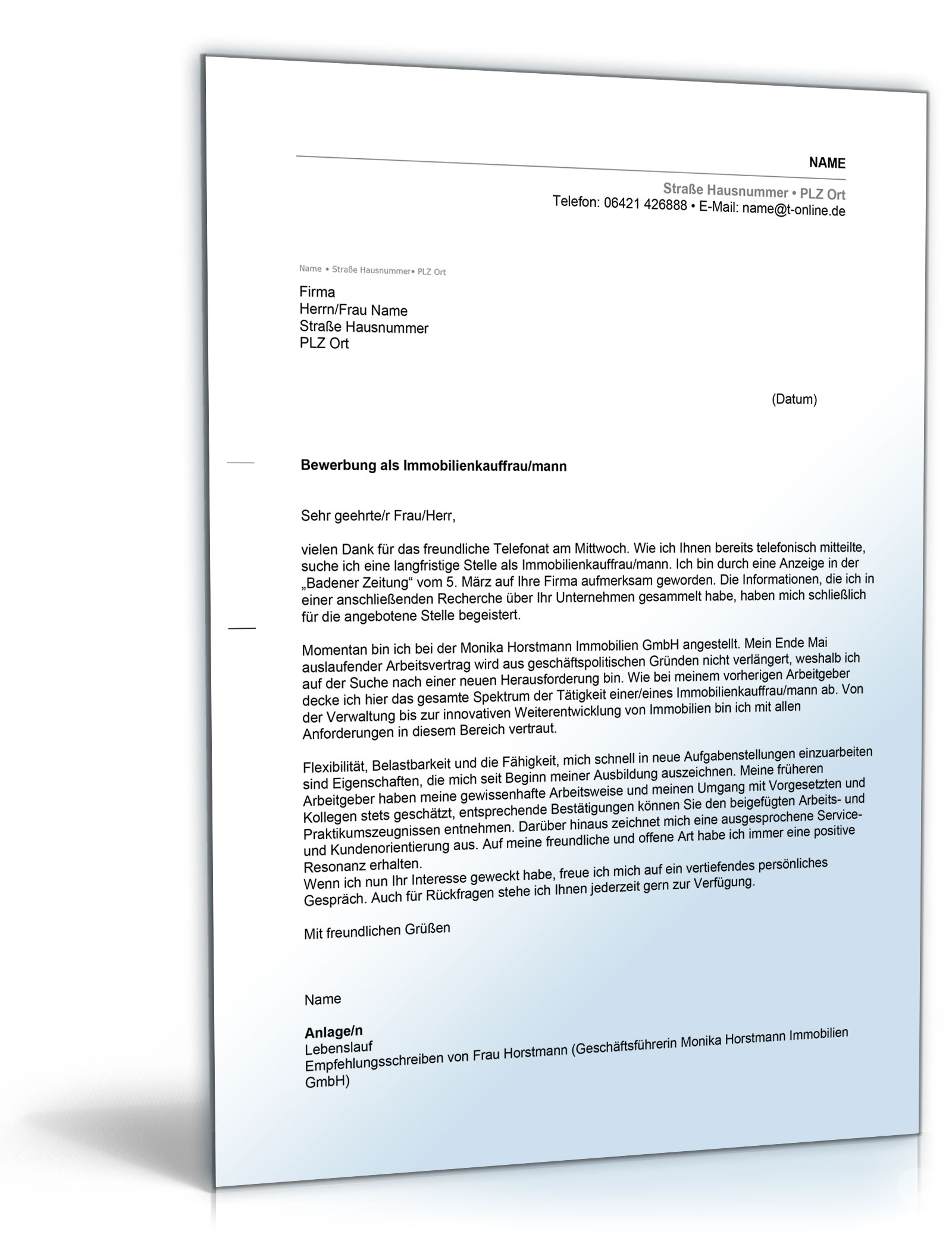 Anschreiben Bewerbung Immobilienkauffrau | ernisverfenwand