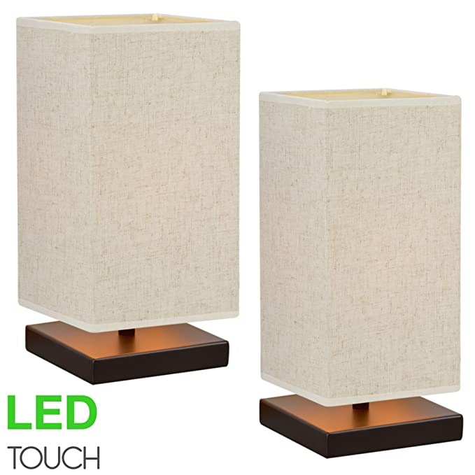 Kira Home Lucerna TOUCH Bedside Table Lamp + 4W LED Bulb (40W eq.) Energy Efficient, Eco-Friendly, Honey Beige Shade, 2-Size Pack