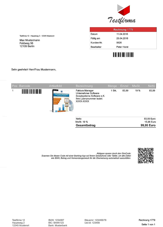 Faktura Software Business Rechnungsprogramm Amazonde Software