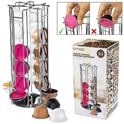 AMOS Soporte de 24 Cápsulas de Café Dolce Gusto Dispensador Giratorio Rotativo Porta Organizador Estante en