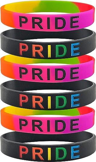 Rinspyre 6 Pack Gay Pride Bracelets Rainbow LGBT Pulsera de ...