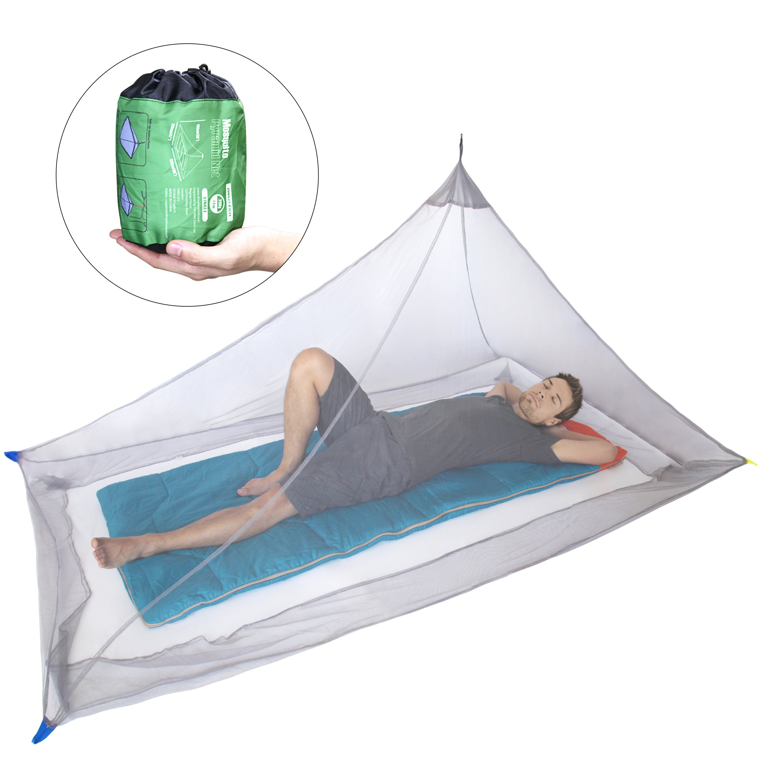 DIMPLES EXCEL Mosquito Net for Single Camping Bed - 250 Holes per Square Inch, Compact and Lightweight by DIMPLES EXCEL