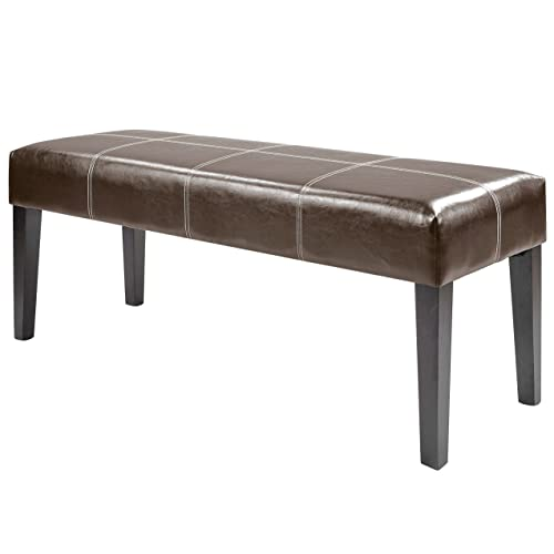 CorLiving Antonio Bench in Dark Brown Bonded Leather, 47-Inch