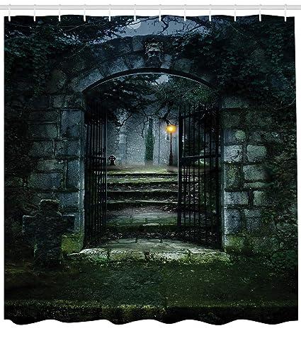 ABAKUHAUS Gótico Cortina de Baño, Puerta de una Oscura Vieja Casa Embrujada Cementerio Muertos Ficción