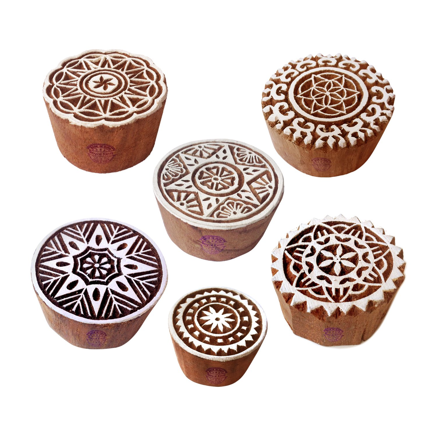 Textile Block Prints Scrapbook /& Clay Projects to Make Henna Tattoos Royal Kraft Geometric and Square Wooden Printing Stamps Set of 6