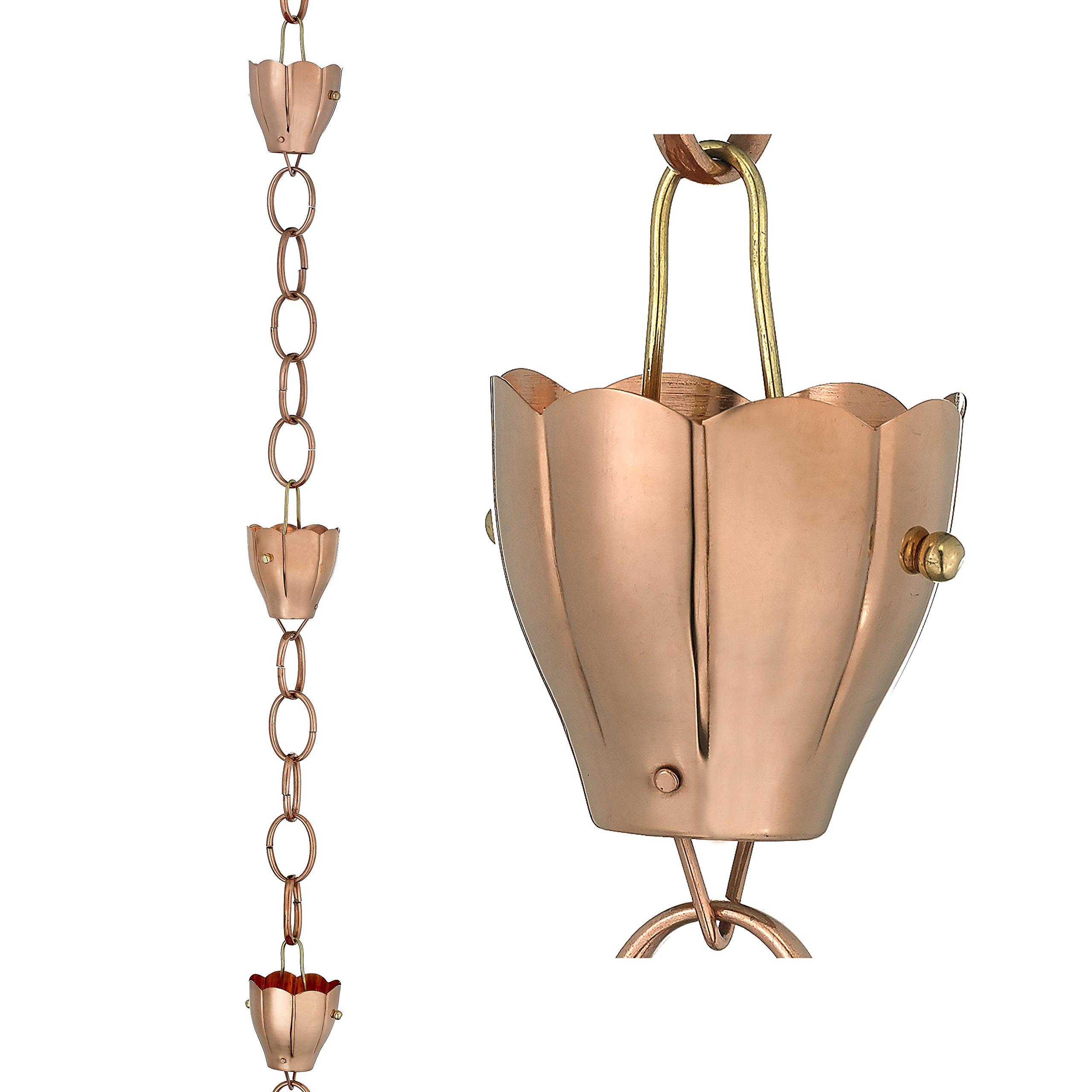 Good Directions 6 Cup Crocus Pure Copper 8.5-Foot Rain Chain