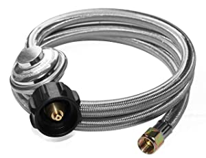 """DOZYANT 5 Feet Universal QCC1 Low Pressure Propane Regulator Grill Replacement with Stainless Steel Braided Hose for Most LP Gas Grill, Heater and Fire Pit Table, 3/8"""" Female Flare Nut"""