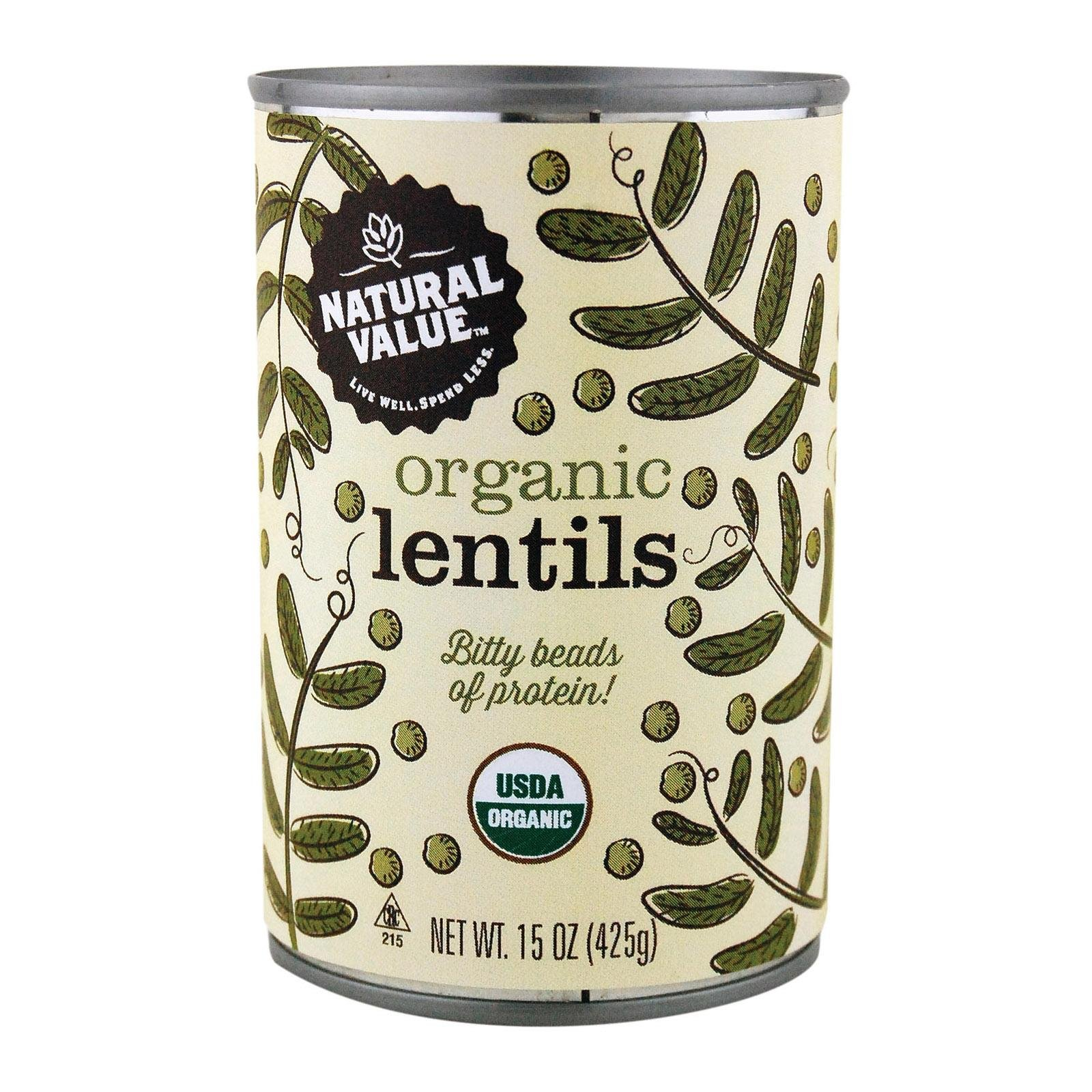 Natural Value Organic Lentils Beans, 15 Ounce, Case of 12