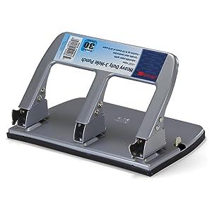 Officemate Medium Heavy Duty Three-Hole Punch, Ergonomic Handle, 30 Sheet Capacity, Silver (90086)
