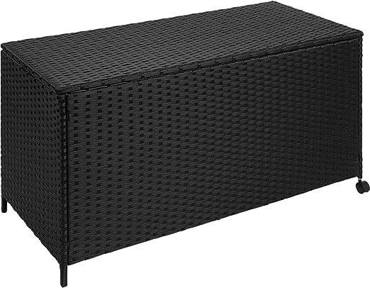 TecTake Caja de Almacenamiento Aluminio Poli ratán jardín Mimbre para Cojines + Ruedas | 117 x 54, 5 x 65 cm: Amazon.es: Jardín