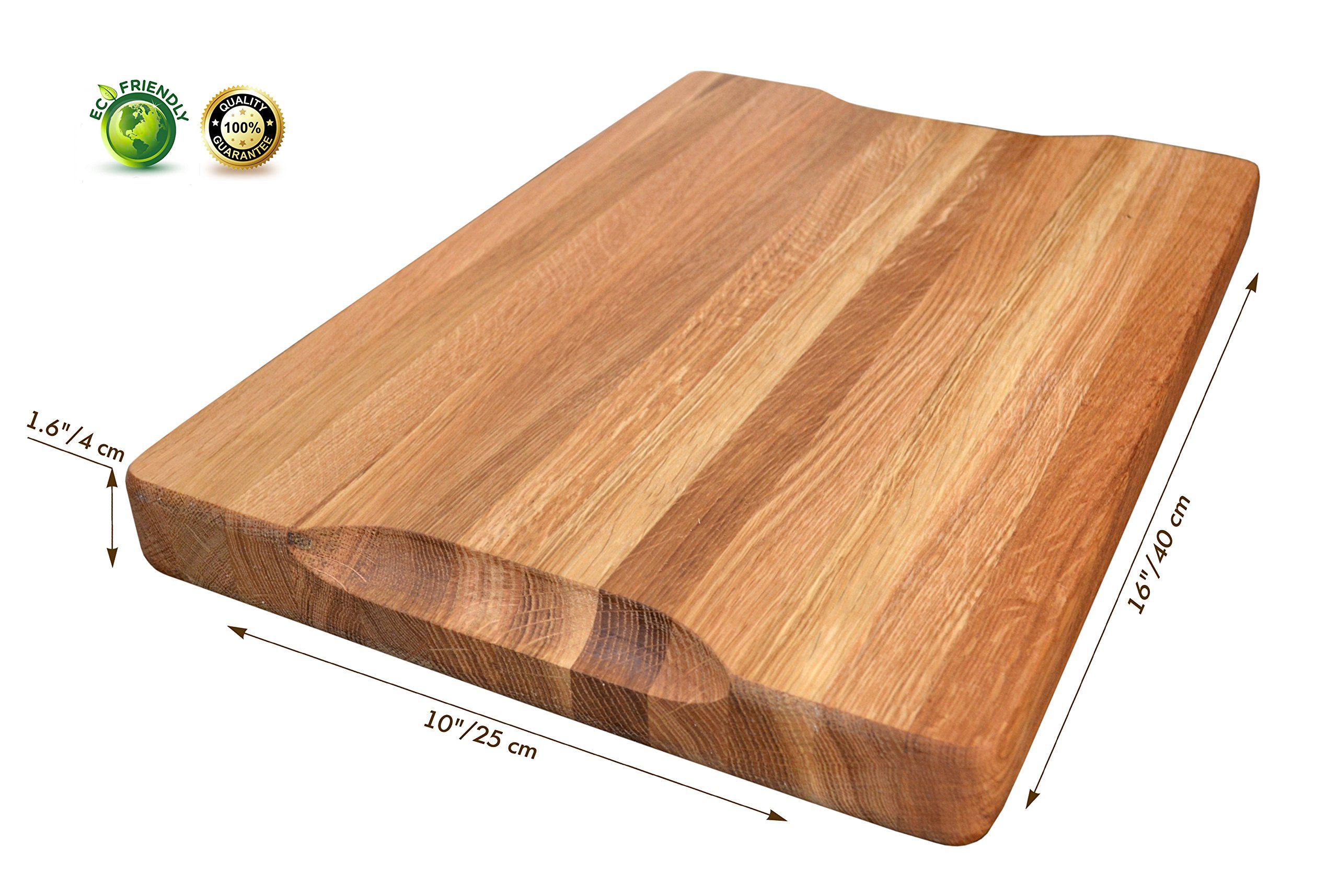 NaturalDesign Cutting Board 16 x 10 x 1.6 inch Edge Grain Chopping Block Wood: Maple & Oak Hardwood Extra Thick Appetizer Serving Platter Durable & Resistant by NaturalDesign (Image #2)