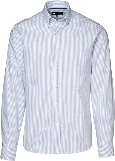 ID - Camisa abotonada modelo Oxford de fácil cuidado para hombre. (124-127cm./Azul Cadete Rayas): Amazon.es: Ropa y accesorios