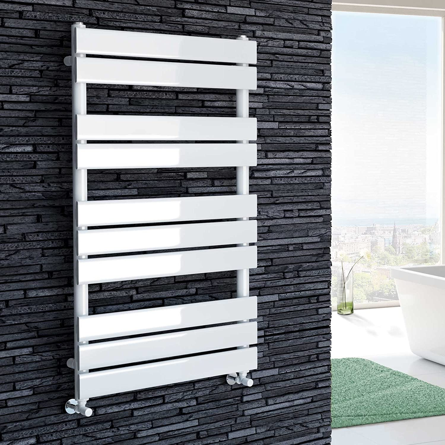iBathUK 1000 x 600 White Flat Panel Heated Towel Rail Bathroom Radiator - All Sizes