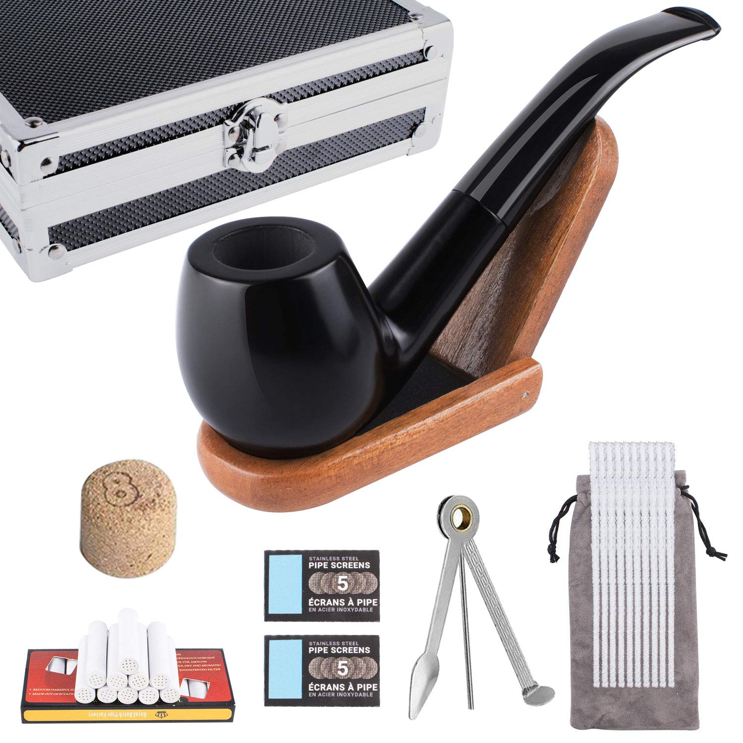 Wooden Tobacco Pipe kit for Smoking, 8 in 1 Tobacco Pipe, Luxury Kit with Wooden Stand, 3-1 Pipe Scraper, 10 Pipe Cleaners, 9 mm Pipe Filters and Cork Knockers by FeelGlad