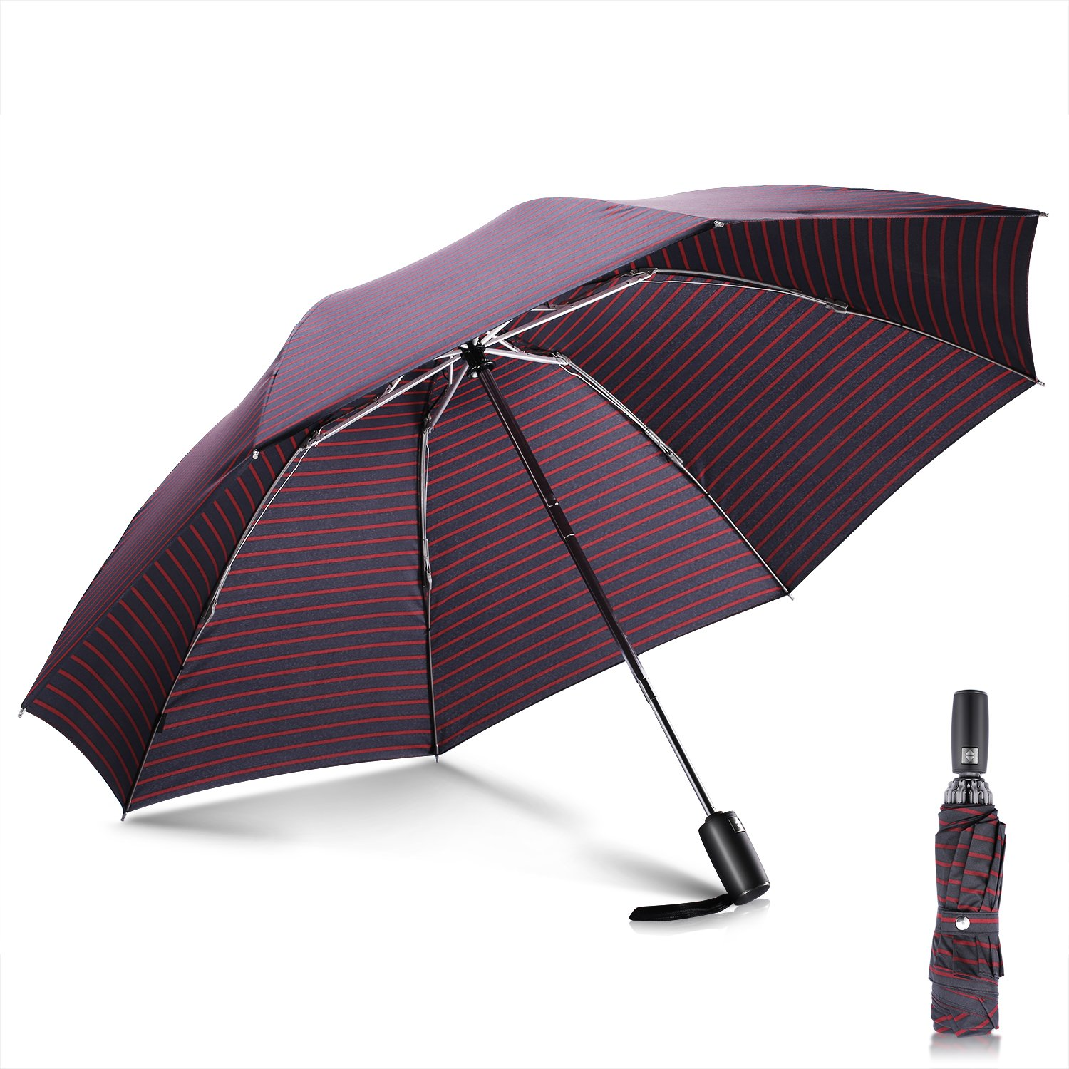 Windproof Umbrella, Leebotree Compact Collapsible Travel Outdoor Umbrella, Auto Open Close Button for One Handed Operation, 210T Fabric Canopy - Sturdy, Easy Carrying (Black& Red) LU03