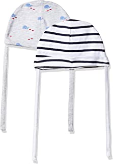 baee4fb99 Playette Blue and White Bamboo Baby Caps-Pack of 2: Amazon.in ...